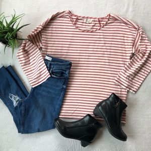 Madewell Red And White Striped 3/4 Crewneck Top
